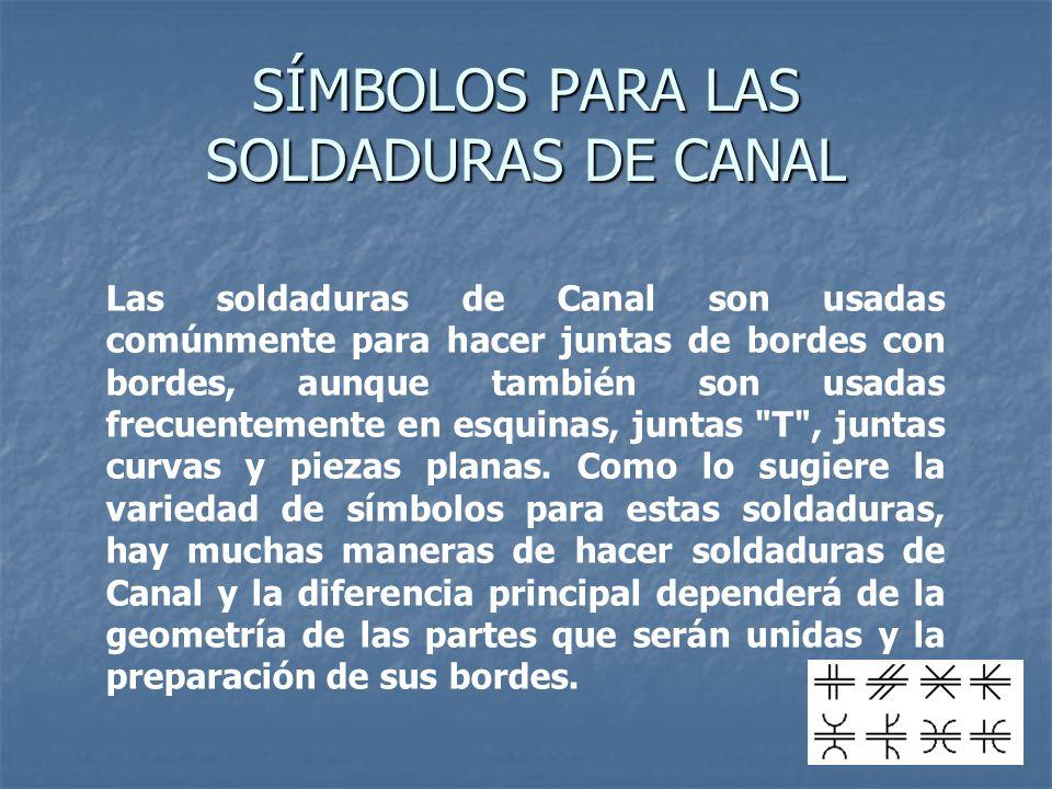 SÍMBOLOS PARA LAS SOLDADURAS DE CANAL