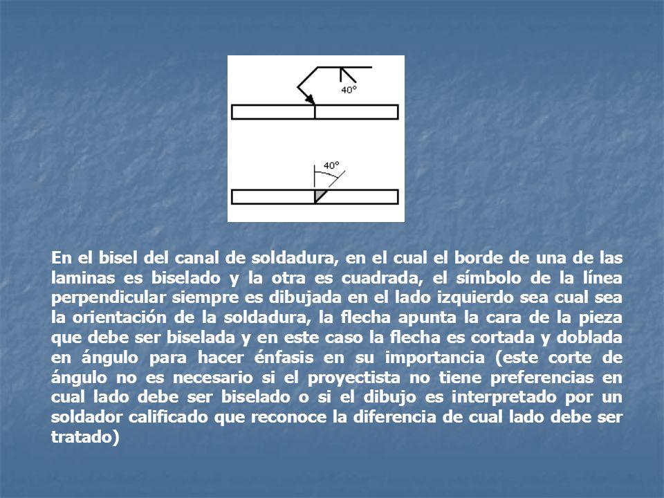 En el bisel del canal de soldadura, en el cual el borde de una de las laminas es biselado y la otra es cuadrada, el símbolo de la línea perpendicular siempre es dibujada en el lado izquierdo sea cual sea la orientación de la soldadura, la flecha apunta la cara de la pieza que debe ser biselada y en este caso la flecha es cortada y doblada en ángulo para hacer énfasis en su importancia (este corte de ángulo no es necesario si el proyectista no tiene preferencias en cual lado debe ser biselado o si el dibujo es interpretado por un soldador calificado que reconoce la diferencia de cual lado debe ser tratado)