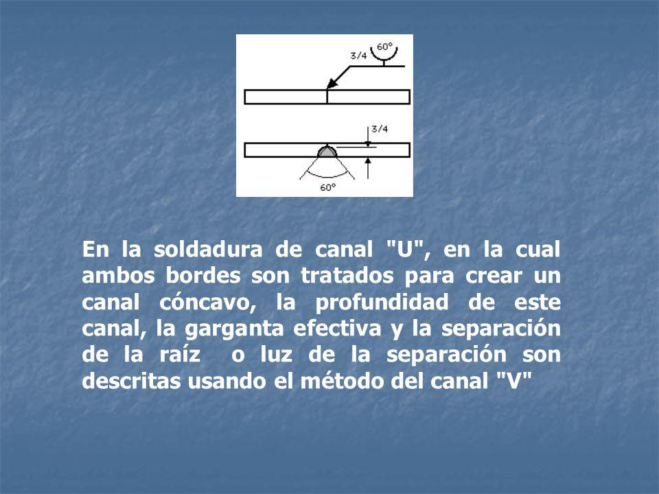 En la soldadura de canal U , en la cual ambos bordes son tratados para crear un canal cóncavo, la profundidad de este canal, la garganta efectiva y la separación de la raíz o luz de la separación son descritas usando el método del canal V