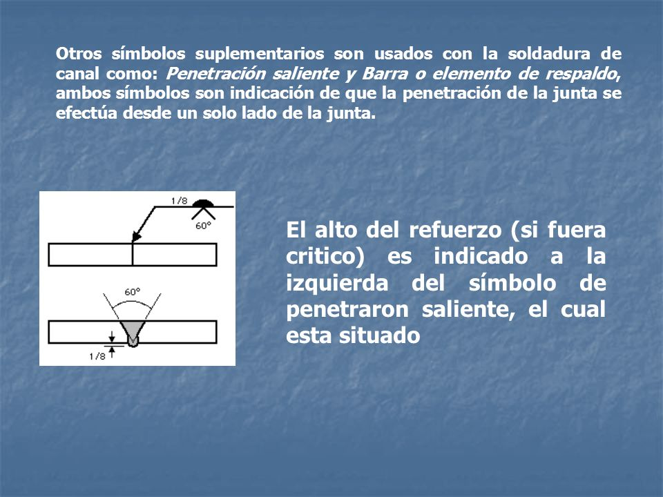 Otros símbolos suplementarios son usados con la soldadura de canal como: Penetración saliente y Barra o elemento de respaldo, ambos símbolos son indicación de que la penetración de la junta se efectúa desde un solo lado de la junta.