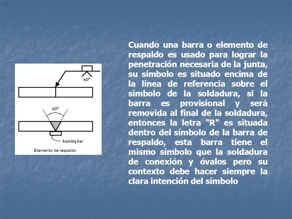 Cuando una barra o elemento de respaldo es usado para lograr la penetración necesaria de la junta, su símbolo es situado encima de la línea de referencia sobre el símbolo de la soldadura, si la barra es provisional y será removida al final de la soldadura, entonces la letra R es situada dentro del símbolo de la barra de respaldo, esta barra tiene el mismo símbolo que la soldadura de conexión y óvalos pero su contexto debe hacer siempre la clara intención del símbolo