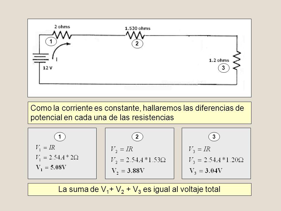 La suma de V1+ V2 + V3 es igual al voltaje total
