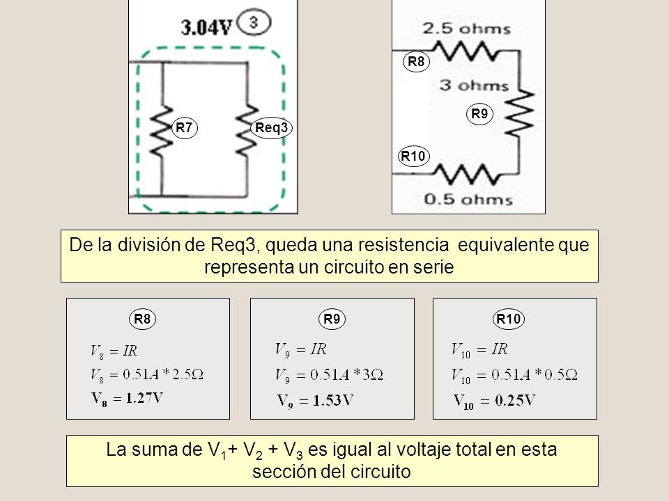 R7 Req3. R10. R8. R9. De la división de Req3, queda una resistencia equivalente que representa un circuito en serie.