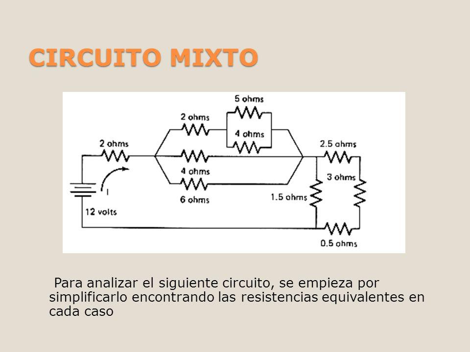 CIRCUITO MIXTO Para analizar el siguiente circuito, se empieza por simplificarlo encontrando las resistencias equivalentes en cada caso.
