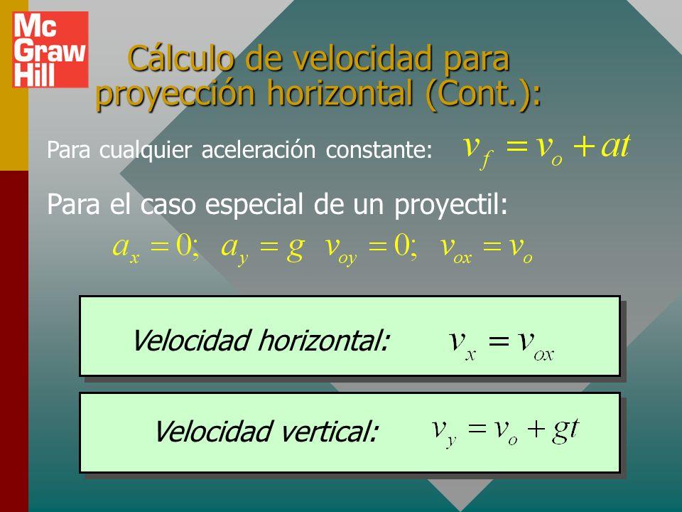 Cálculo de velocidad para proyección horizontal (Cont.):