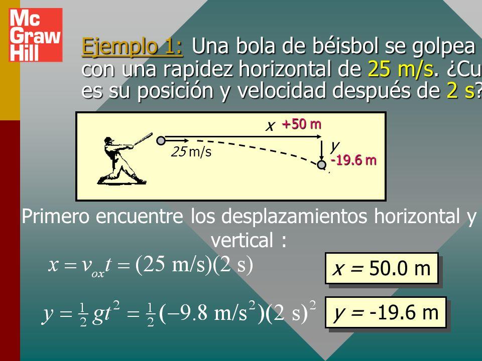 Primero encuentre los desplazamientos horizontal y vertical :