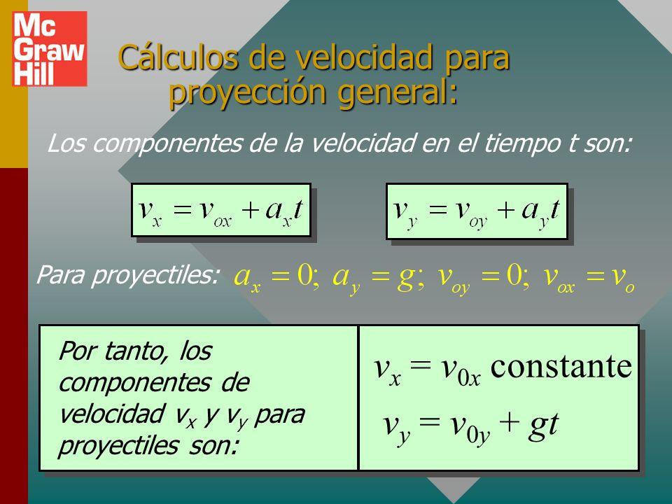 Cálculos de velocidad para proyección general: