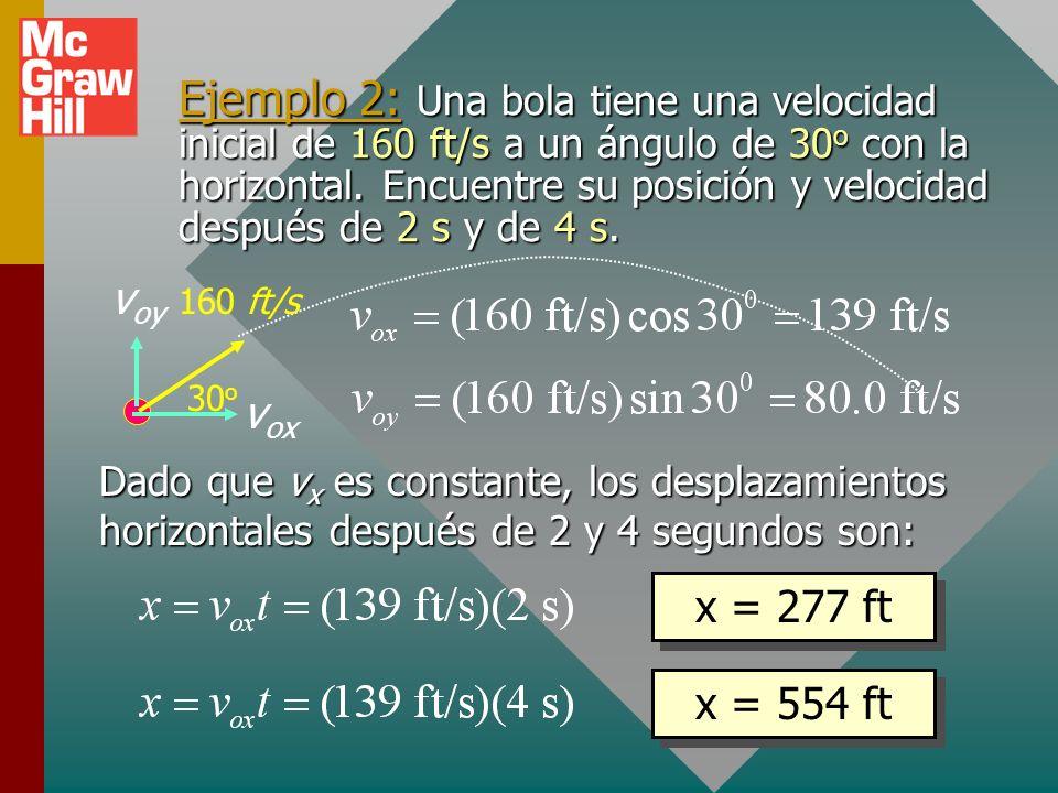 Ejemplo 2: Una bola tiene una velocidad inicial de 160 ft/s a un ángulo de 30o con la horizontal. Encuentre su posición y velocidad después de 2 s y de 4 s.