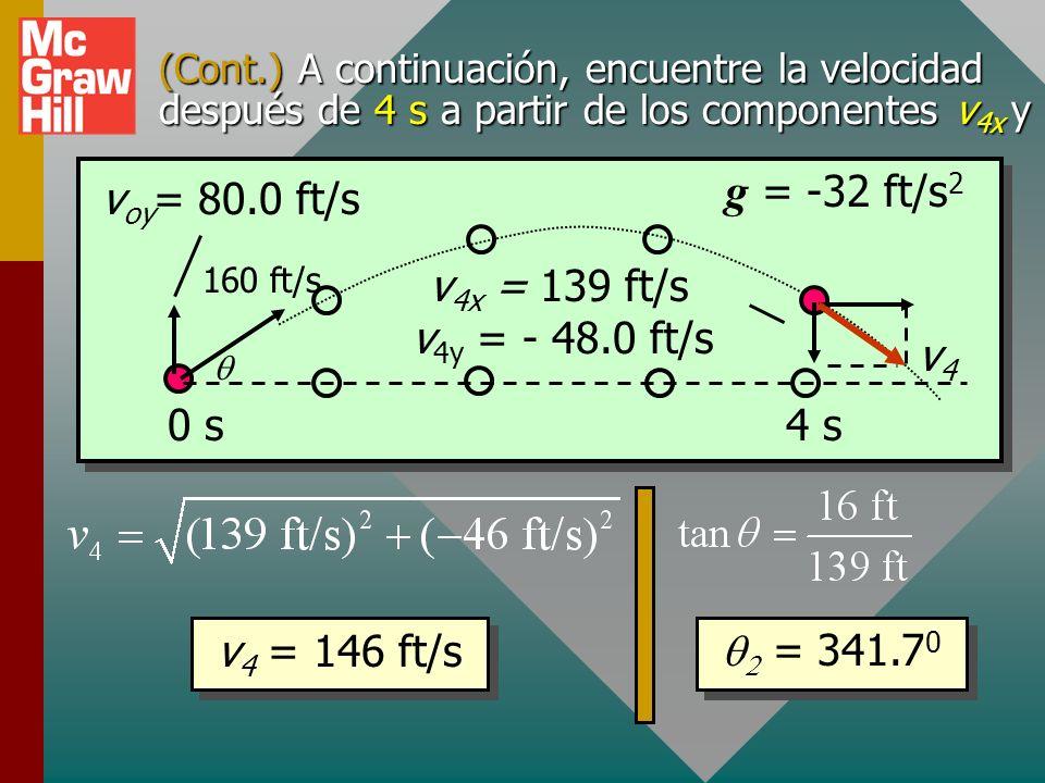 g = -32 ft/s2 voy= 80.0 ft/s 0 s 4 s v4 v4x = 139 ft/s