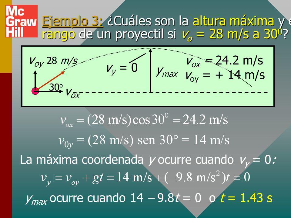 Ejemplo 3: ¿Cuáles son la altura máxima y el rango de un proyectil si vo = 28 m/s a 300