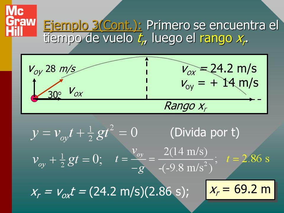 Ejemplo 3(Cont.): Primero se encuentra el tiempo de vuelo tr, luego el rango xr.