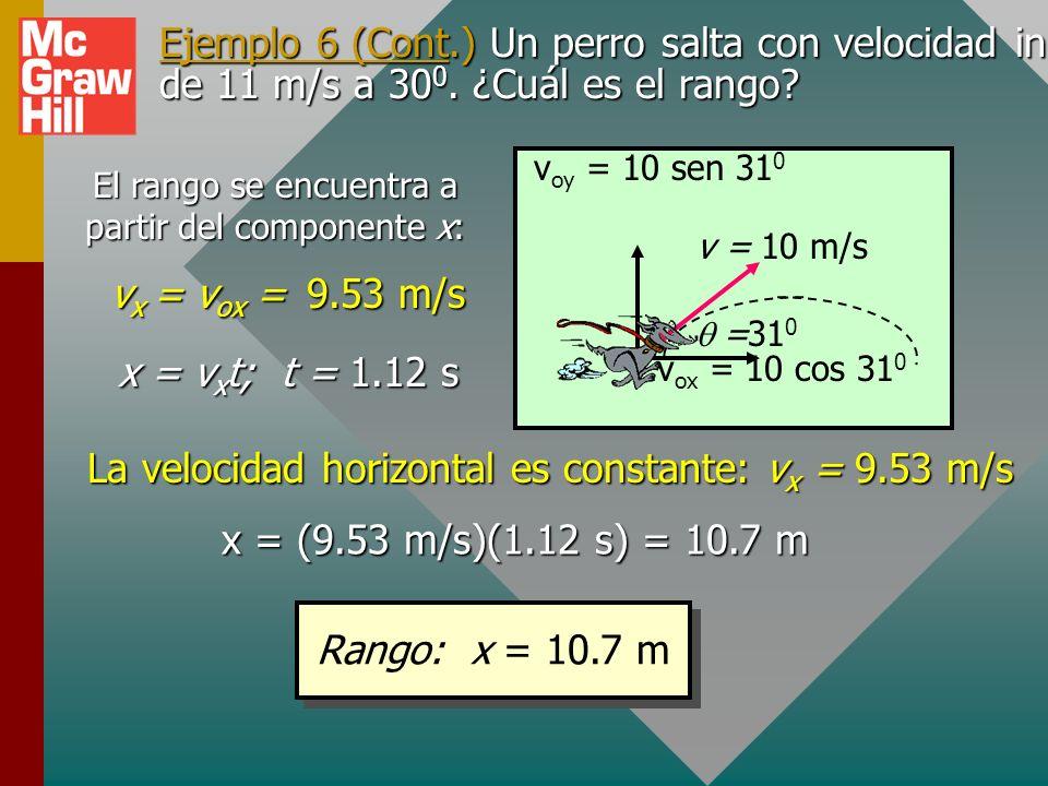 La velocidad horizontal es constante: vx = 9.53 m/s