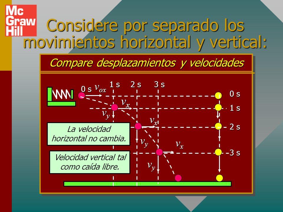 Considere por separado los movimientos horizontal y vertical: