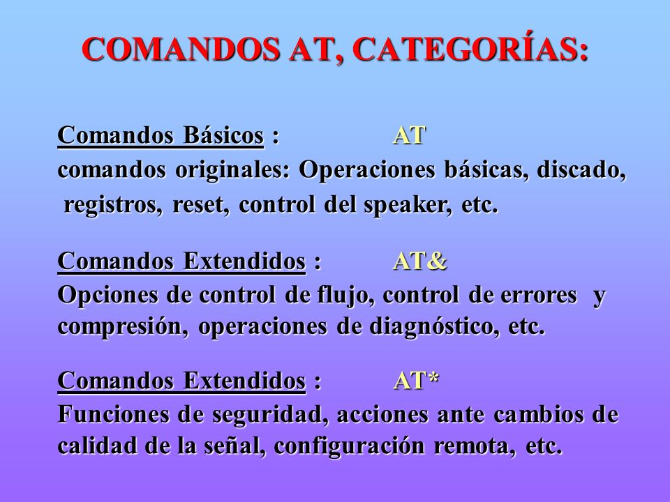 COMANDOS AT, CATEGORÍAS:
