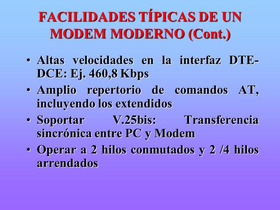 FACILIDADES TÍPICAS DE UN MODEM MODERNO (Cont.)