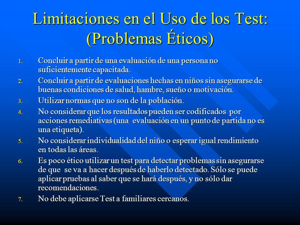 Limitaciones en el Uso de los Test: (Problemas Éticos)