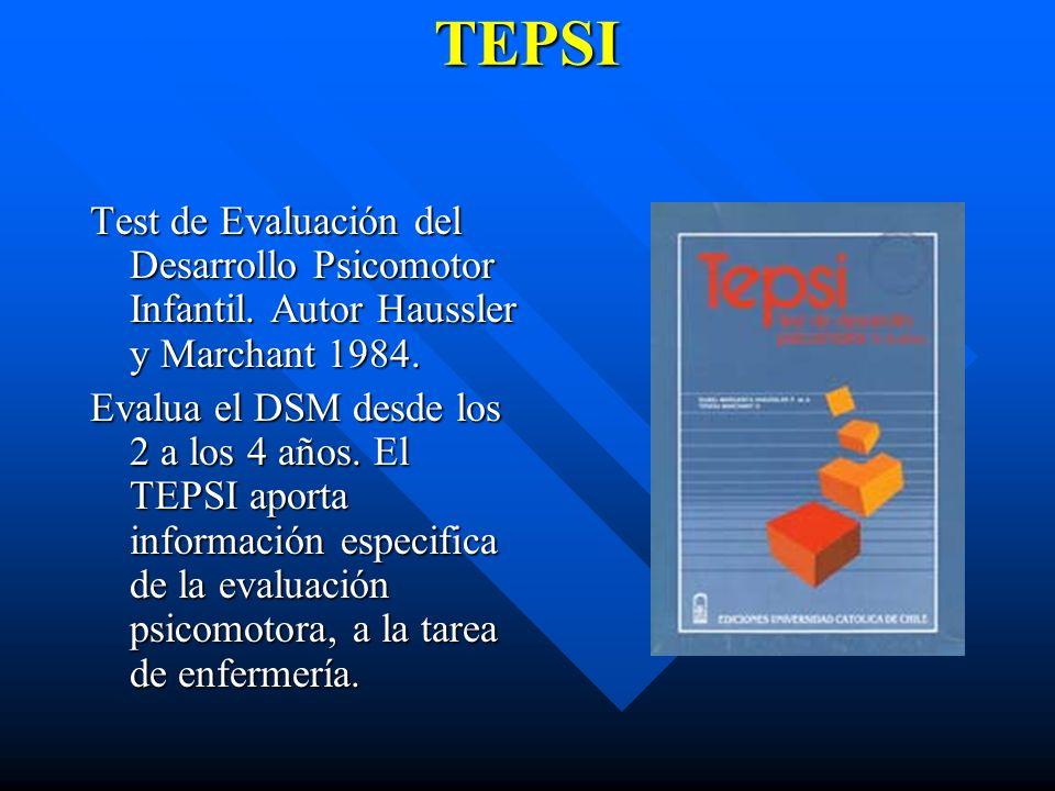 TEPSI Test de Evaluación del Desarrollo Psicomotor Infantil. Autor Haussler y Marchant 1984.