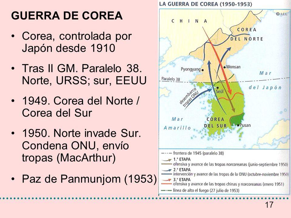 GUERRA DE COREA Corea, controlada por Japón desde 1910. Tras II GM. Paralelo 38. Norte, URSS; sur, EEUU.
