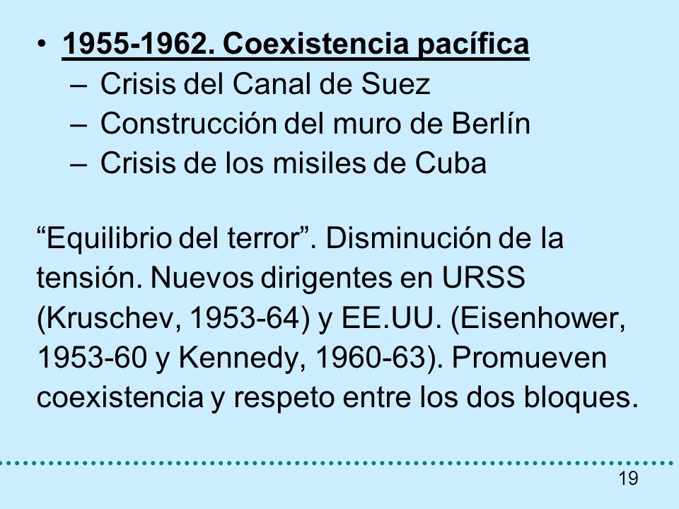 1955-1962. Coexistencia pacífica