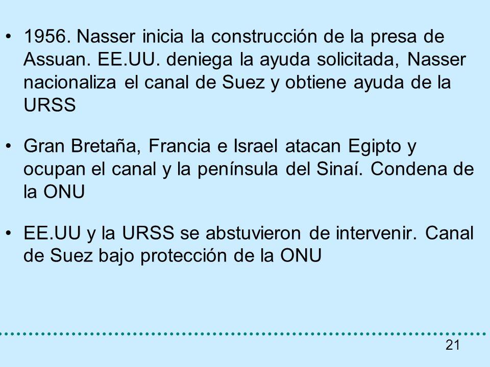 1956. Nasser inicia la construcción de la presa de Assuan. EE. UU
