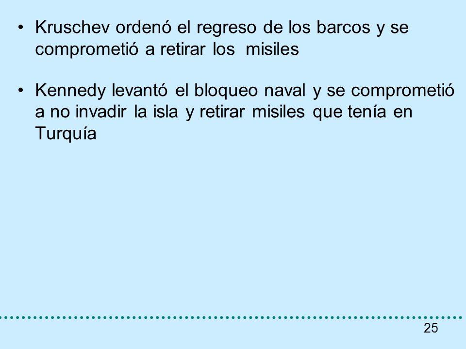 Kruschev ordenó el regreso de los barcos y se comprometió a retirar los misiles