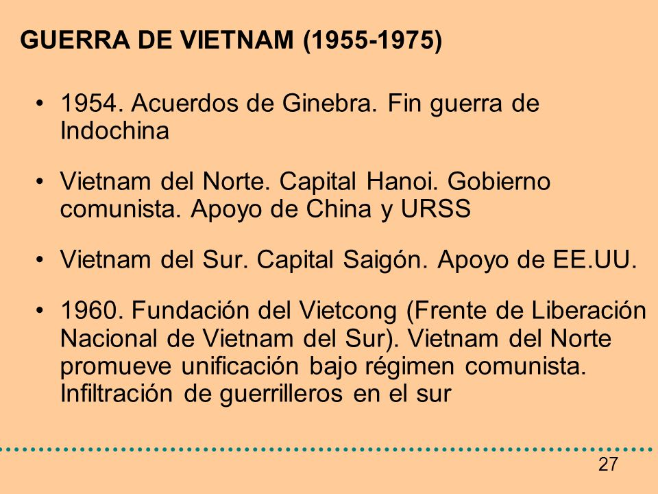 GUERRA DE VIETNAM (1955-1975) 1954. Acuerdos de Ginebra. Fin guerra de Indochina.