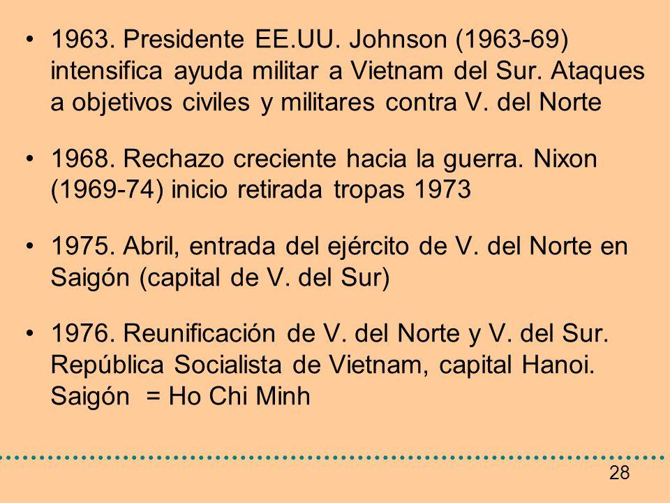 1963. Presidente EE.UU. Johnson (1963-69) intensifica ayuda militar a Vietnam del Sur. Ataques a objetivos civiles y militares contra V. del Norte