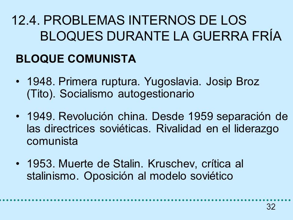 12.4. PROBLEMAS INTERNOS DE LOS BLOQUES DURANTE LA GUERRA FRÍA