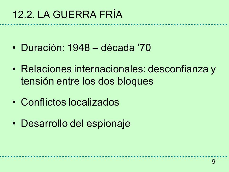 12.2. LA GUERRA FRÍA Duración: 1948 – década '70. Relaciones internacionales: desconfianza y tensión entre los dos bloques.