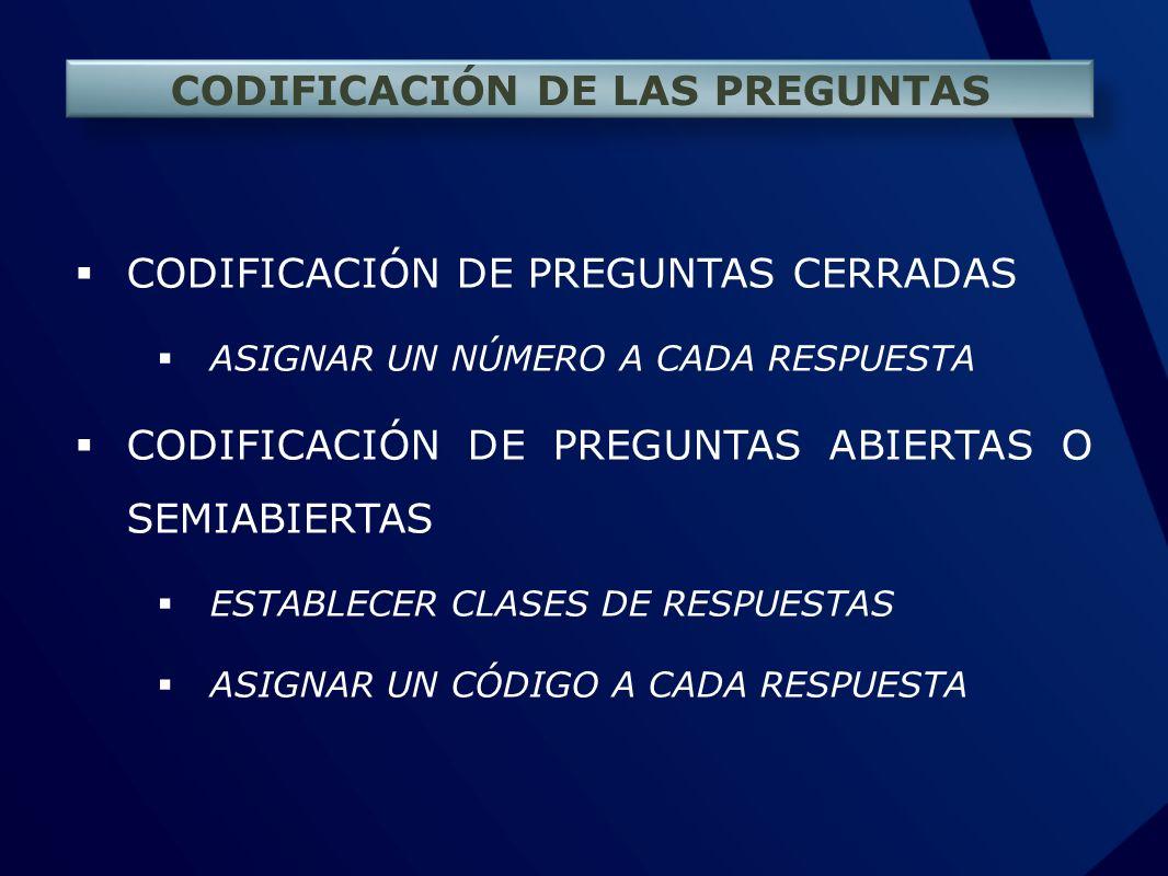 CODIFICACIÓN DE LAS PREGUNTAS