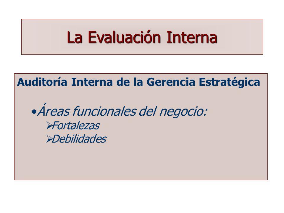 La Evaluación Interna Áreas funcionales del negocio: