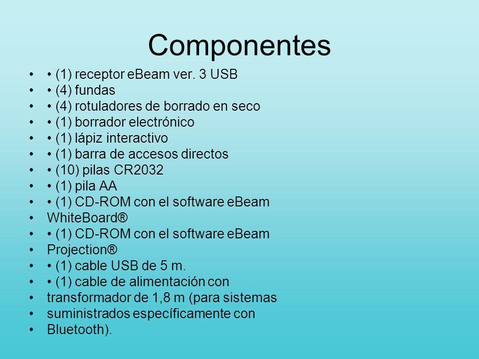 Componentes • (1) receptor eBeam ver. 3 USB • (4) fundas
