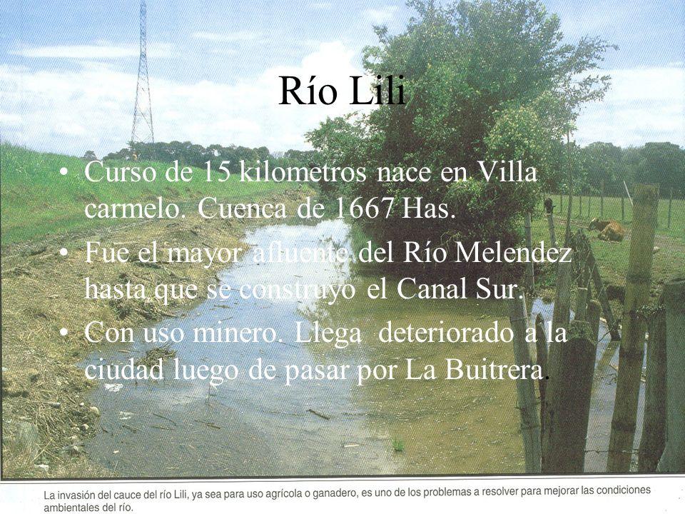 Río Lili Curso de 15 kilometros nace en Villa carmelo. Cuenca de 1667 Has.
