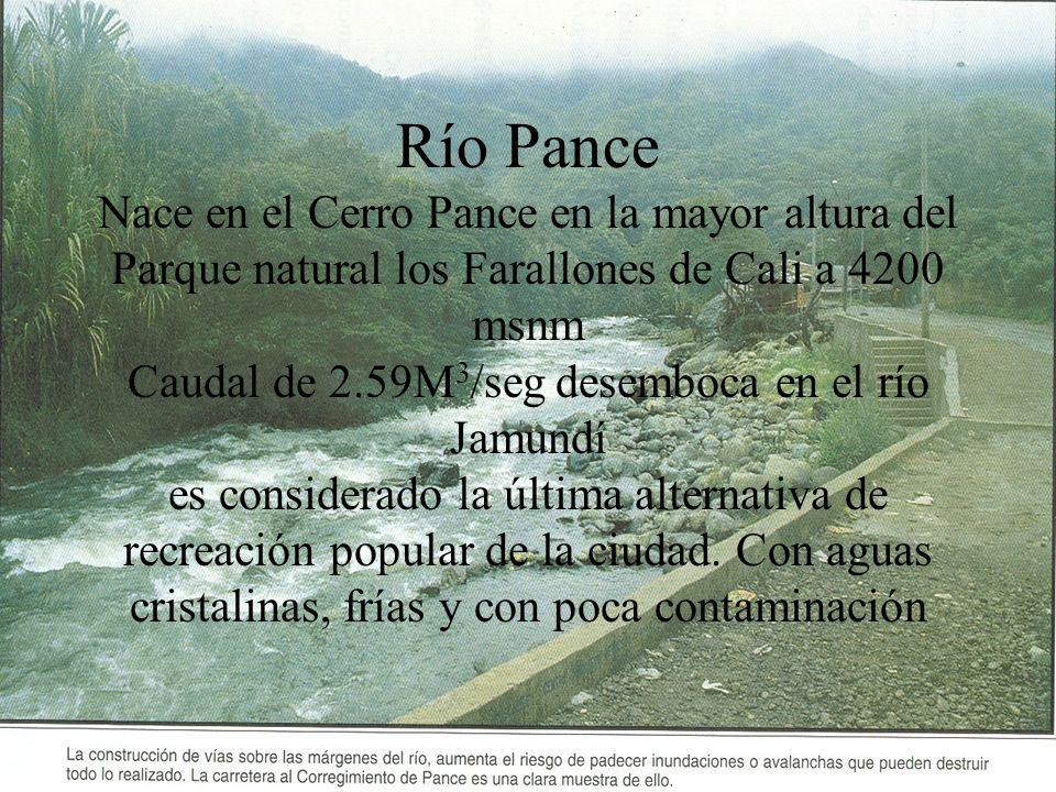 Río Pance Nace en el Cerro Pance en la mayor altura del Parque natural los Farallones de Cali a 4200 msnm Caudal de 2.59M3/seg desemboca en el río Jamundí es considerado la última alternativa de recreación popular de la ciudad.