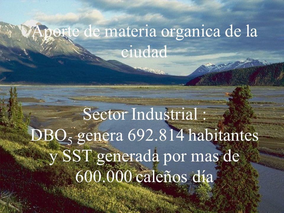 Aporte de materia organica de la ciudad Sector Industrial : DBO5 genera 692.814 habitantes y SST generada por mas de 600.000 caleños día