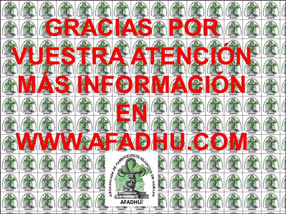 GRACIAS POR VUESTRA ATENCIÓN MÁS INFORMACIÓN EN WWW.AFADHU.COM
