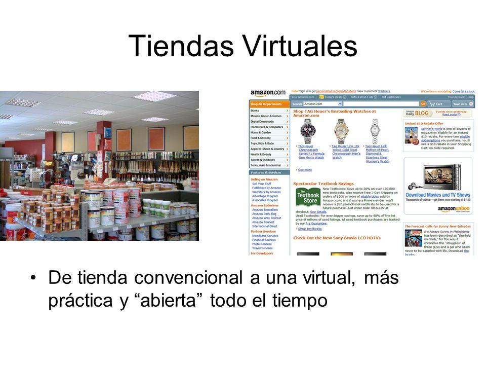 Tiendas Virtuales De tienda convencional a una virtual, más práctica y abierta todo el tiempo