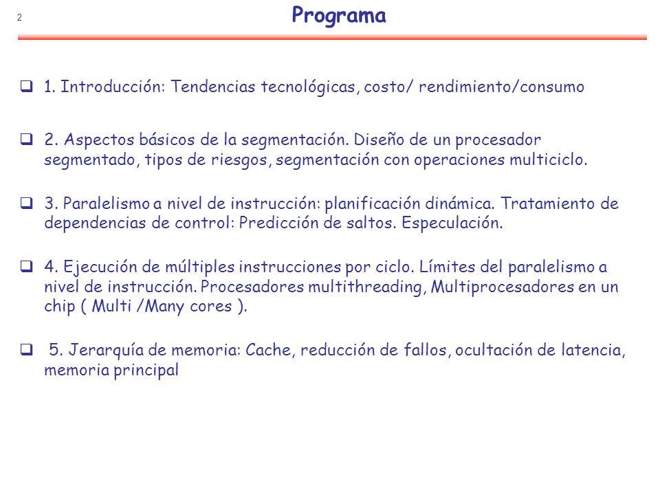 Programa 1. Introducción: Tendencias tecnológicas, costo/ rendimiento/consumo.