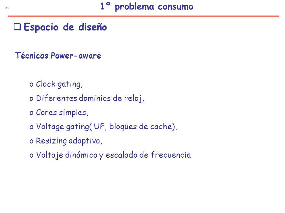 Espacio de diseño 1º problema consumo Técnicas Power-aware