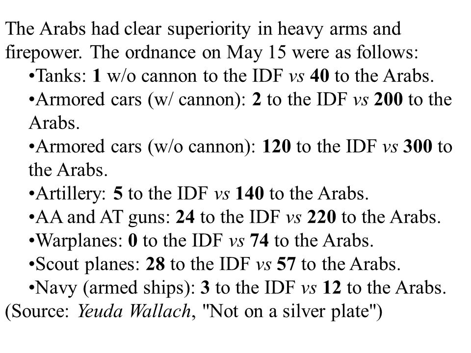 The Arabs had clear superiority in heavy arms and firepower