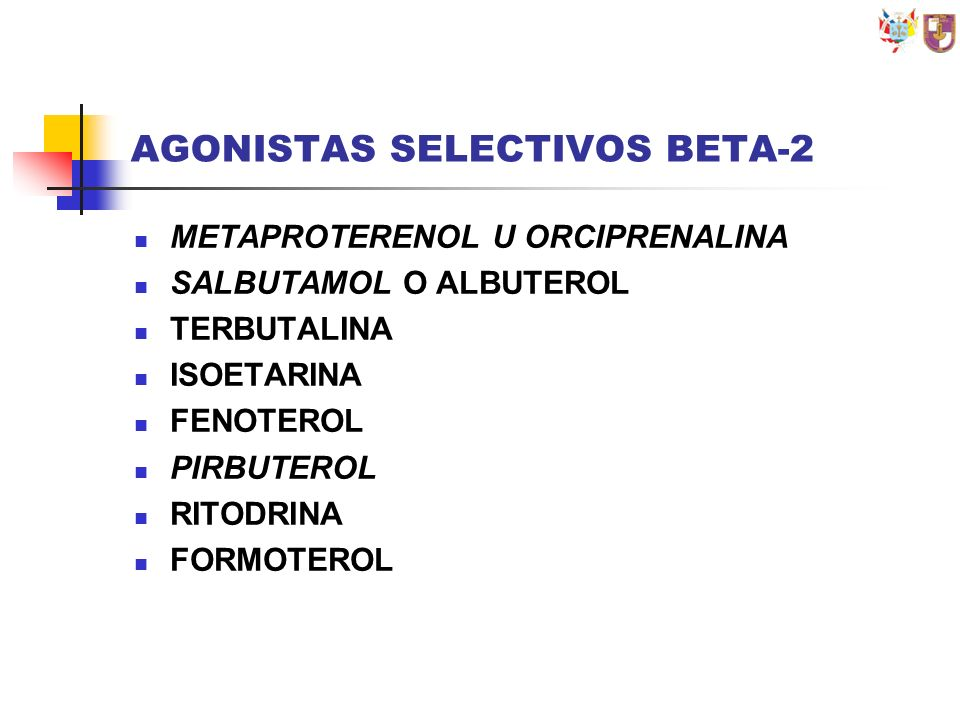 AGONISTAS SELECTIVOS BETA-2
