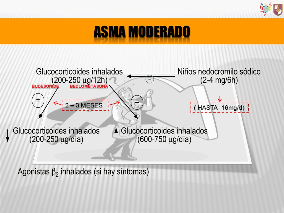 Asma moderado 2 – 3 MESES ( HASTA 16mg/d) cromoglinato BUDESONIDE