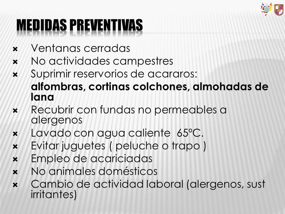 Medidas preventivas Ventanas cerradas No actividades campestres