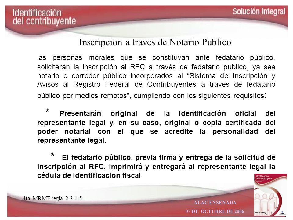 Inscripcion a traves de Notario Publico