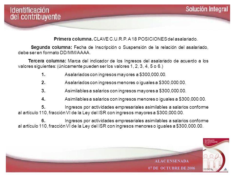 Primera columna. CLAVE C.U.R.P. A 18 POSICIONES del asalariado.