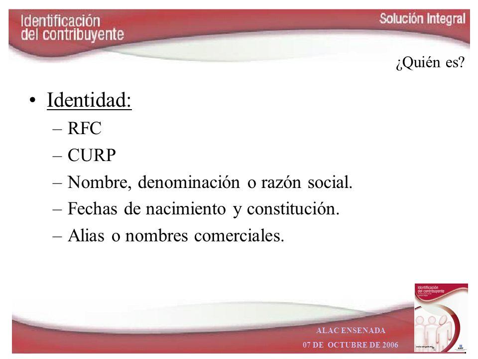 Identidad: RFC CURP Nombre, denominación o razón social.
