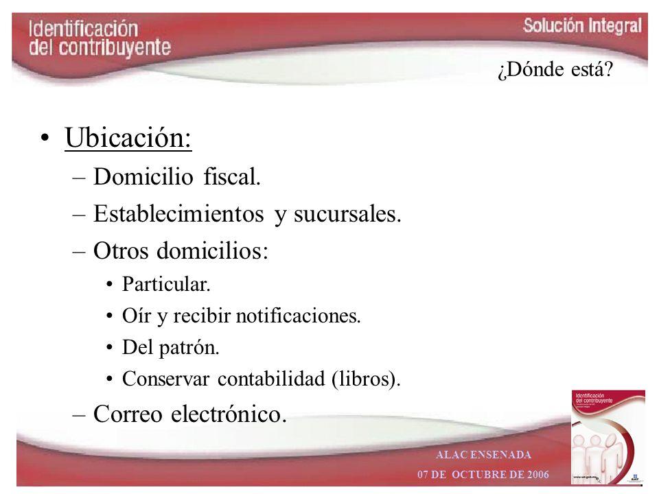 Ubicación: Domicilio fiscal. Establecimientos y sucursales.