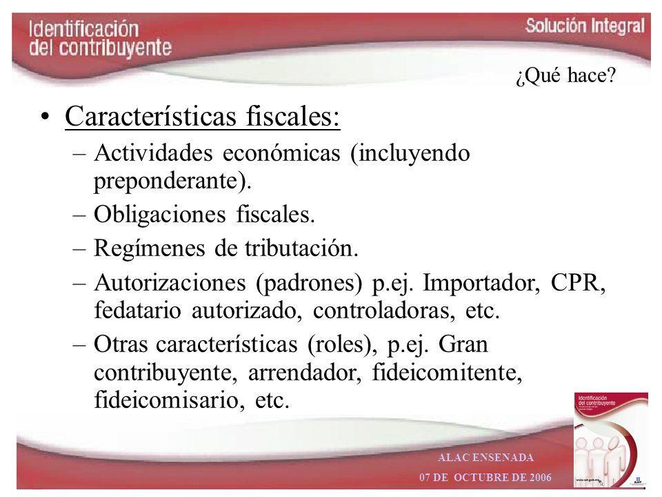 Características fiscales: