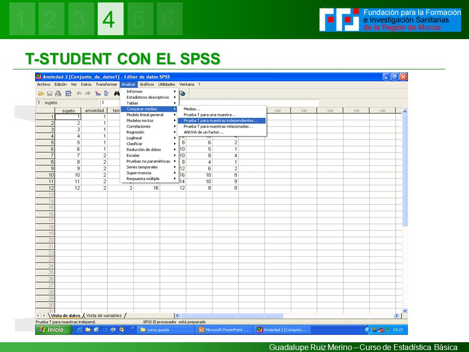 4 IV T-STUDENT CON EL SPSS