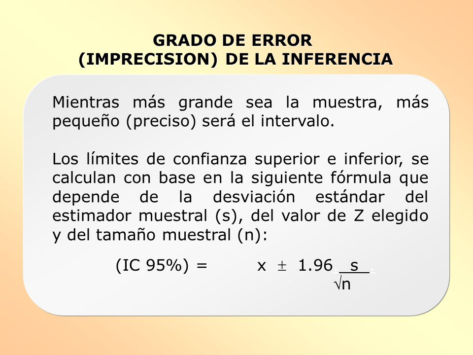 (IMPRECISION) DE LA INFERENCIA
